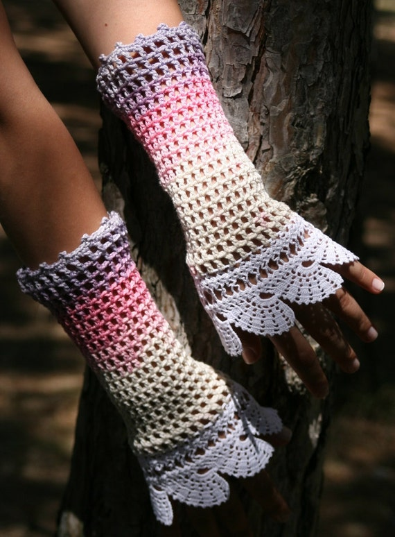 Fingerless Gloves in Purple, Pink and Ivory with White Lace Trim - Spring Summer Fashion - Mother's Day Gift - Cotton Wrist Cuffs - Mittens