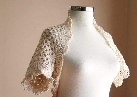 Bride Bolero Ivory - Bridal Shrug in Creme - Neutral Chic Elegant Womens Sweater Knit - Spring Summer Fashion - Dreamy Wedding Accessories