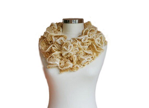 Ruffled Lacy Scarf in Shades of Beige - Spring Ruffle Fashion - Women Teens Accessories - Neutral - Earth Tones