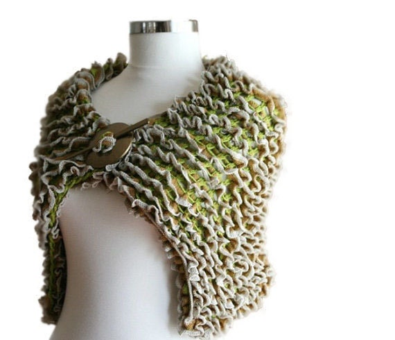 Ruffled Capelet Scarf in Green, Brown, Grey with Shawl Pin - Spring Fashion - Women Teens Accessories - Wrap - Cowl - Mother's Day Gift