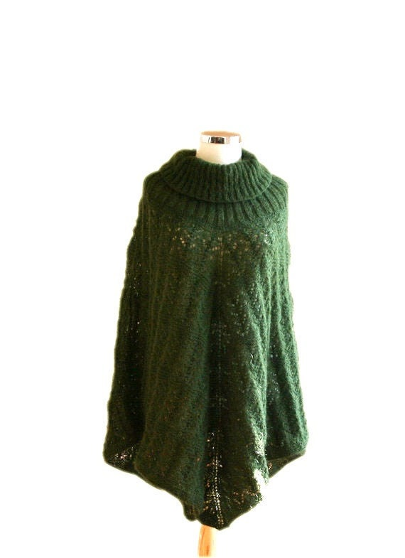 Knit Poncho in Forest Green - Mohair Cape- Women Teens Accessories - Fall Winter Fashion - Wrap