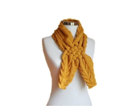 Knit Braided Scarf in Mustard Yellow - Neck Warmer - Cowl - Women Teens Accessories - Fall Winter Fashion