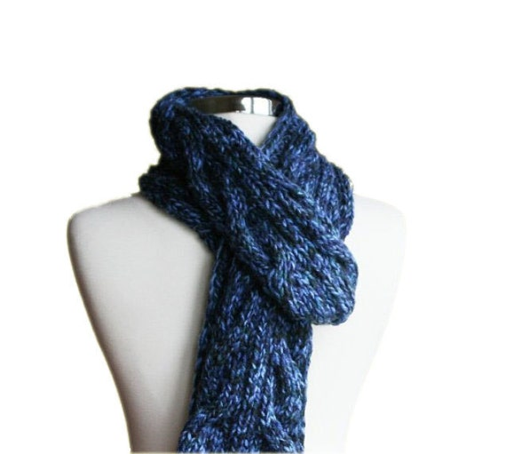 Mens Scarf Knit in Variegated Blue - Fall Winter Accessories - Men Fashion