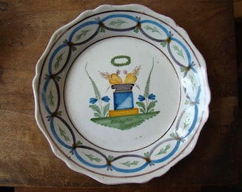 Marriage or Wedding Plate  - France Nevers 18th Century