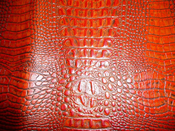 Gorgeous Burnt Orange ALLIGATOR Cowhide Leather Hide 1.5 sq ft Great for crafts or small project