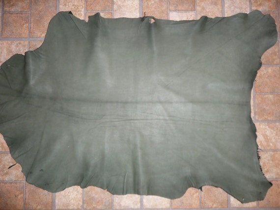 "36""x24"" 6sq ft  Rustic Spruce Green Goatskin Leather Hide 2.5oz/1mm Visit PeggySueAlso"