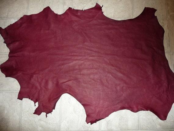 "6.5 sq ft Rustic Cabretta Lambskin Beautiful Cranberry / Dark Pink Leather Hide 37""x24"""