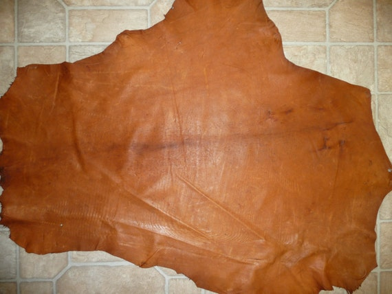 """Thin Distressed Rustic Copper Goatskin Goat Leather HIDE 5.5 sq ft 33""""x26"""" 1-1.25oz / .4-.5 mm thick"""