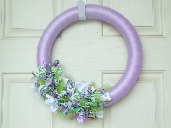 Purple and Green Ribbon Wreath - ribbon wreath door decor housewares home decor wreath spring wreath purple and green