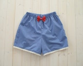 Blue Stripe Lace Shorts With Red And Pink Bow