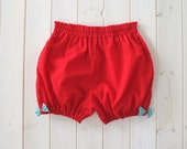 Womens Bloomers, Red With Aqua Blue Bows, Lingerie, Loungewear, Pyjamas, Made To Order