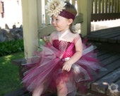 Baby TuTu Dress, Burgundy Ivory Brown, first birthday party, special occasion, flower girl, photography prop, costume, baby shower gift