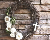 "white cross 18"" grapevine wreath"