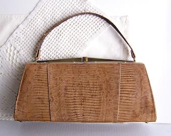 Vintage Sterling Lizard Handbag / Purse Never Used / Mid Century Purse