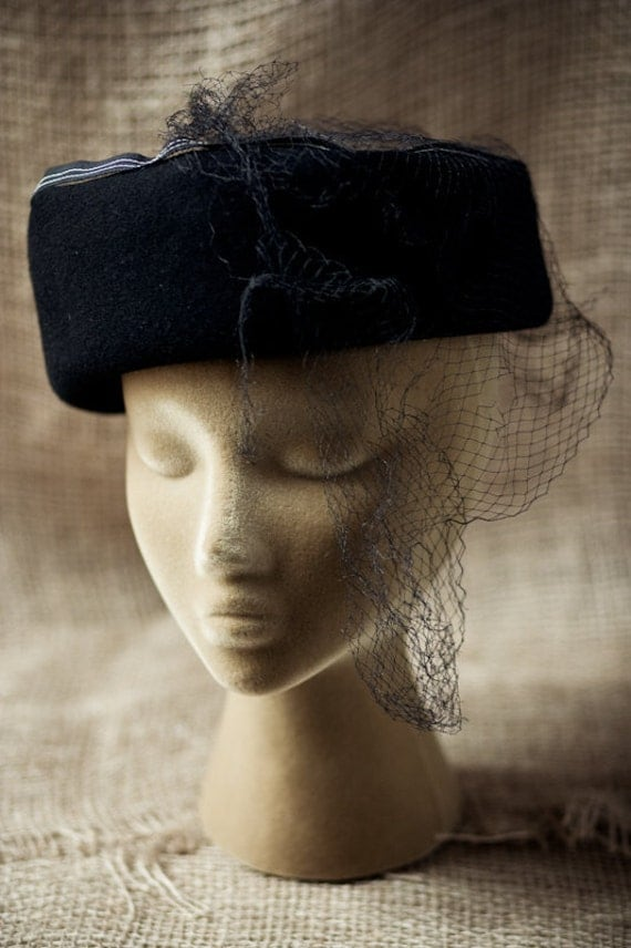 Vintage Wool Hat with Tattered Netting in Tragic Condition