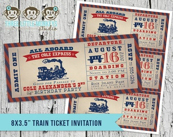 Vintage Train Ticket Invitation & Matching Thank You Note