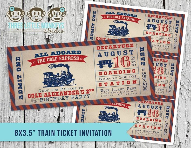 train invitation | etsy,