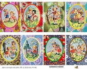 Retro Children Vintage Fabric  ATC,  ACEO - Digital Collage Sheet (No 062)