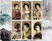 Vintage Geisha Girls Dominoes 1 x 2 inch - Digital Collage Sheet No (063)