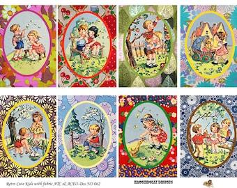 Retro Children Vintage Fabric  ATC,  ACEO - Digital Collage Sheet (No 062)