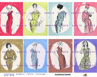Fashion Models Retro Vintage  ATC,  ACEO - Digital Collage Sheet (No 072)
