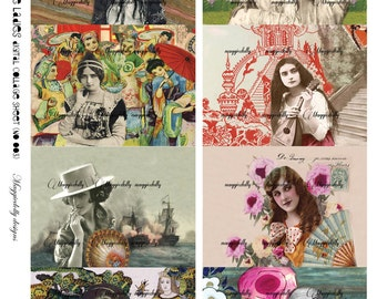 Vintage Glamour Women ATC, ACEO - Digital collage Sheet (no 003)