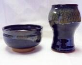Black Ceramic Bowl, Black Ceramic Vase, Black Ceramic Bowl and Vase, Goth Ceramic Bowl, Goth Ceramic Vase, Steam Punk Pottery Bowl and Vase