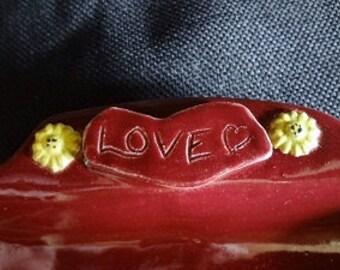 Ceramic Serving Tray, Serving Dish, Burgundy and Cream Ceramic Tray, Ceramic Wedding Gift, Cookie Tray, Red and Tan Ceramic Tray, Love Tray