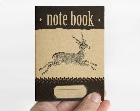 "notebook ""deer jumping""- vintage - retro - design - limited edition 014"