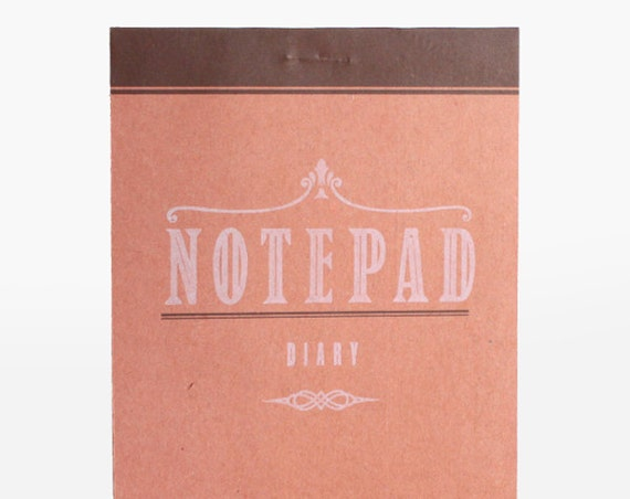 Notepad diary - blank - craft - letterpress vintage design - PAD6002