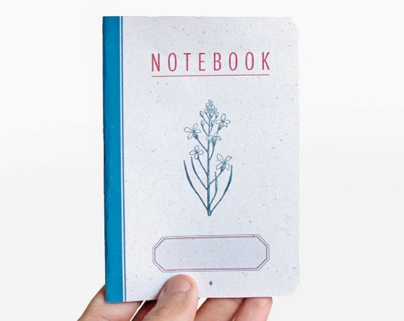 notebook - blank - flower -  red and blue -  VAR6006B