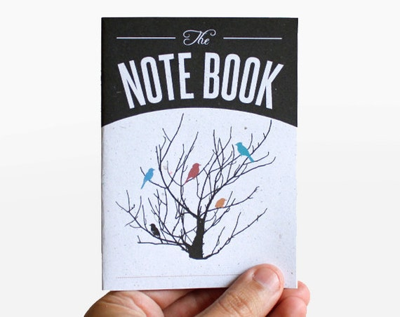 notebook - blank - color birds -  vintage retro design -  VAR6008B