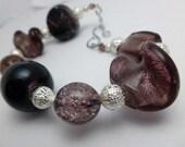 Purple Chunky Bracelet and Earrings, silver, glass beads, glass bracelets