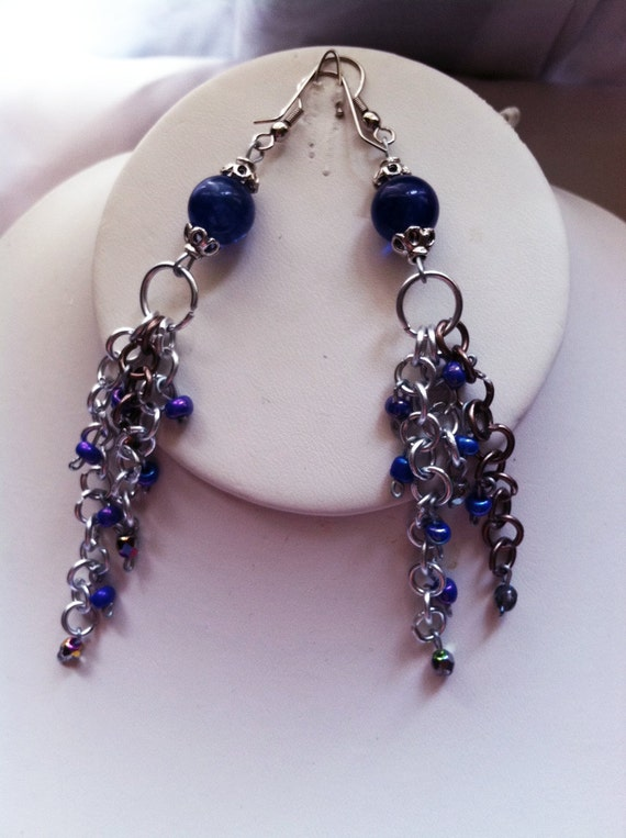 Blue  Chain Earrings