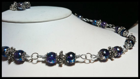 Gorgeous Shimmering Purple Foil Glass Necklace and Earrings, glass beads, silver