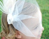 Bridal Peacock Fascinator with Blusher, Veil