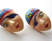 Painted Lady Earrings. One Eyed Gypsy. Eye Patch. Diamond Eye.