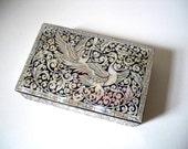 Dancing Cranes Mother of Pearl Lacquerware Stash Box. Black.
