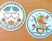 Pair Zook Hex Signs Pennsylvania Dutch Folk Art Unopened Disks Good Luck and Love