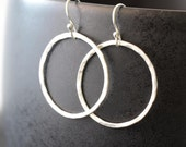 silver hoop Earrings, Hoops, Hammered Sterling Silver Hoop Earrings, Simple Circle Earrings, Round Earrings,  Ring Master by harmonieandme