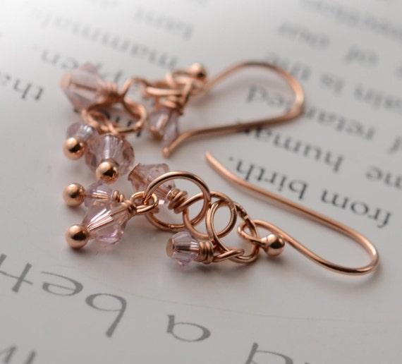 Rose Gold Earrings. Swarovski Crystal Gold Earrings. Champagne Bubbles by harmonieandme
