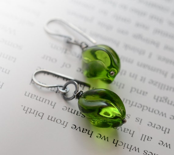 Vintage Green Glass Earrings, Sterling Silver Earrings, Spring Oxidized Metalwork Hammered Emerald Green Swirl Earrings