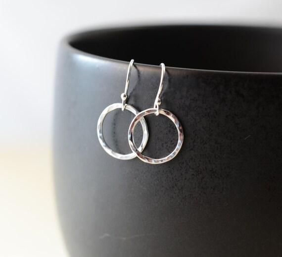 Hoop earrings. Hammered Sterling Silver Hoop Earrings, Round Ring Circle Earrings, Polished Shiny Simple Dainty Earrings