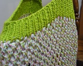 Handknit Reusable Shopping Market Bag: Bright Green with Pink/Blue/Green/Yellow twists