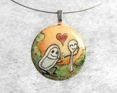 Dish Spoon Pendant Hand Painted Art Heart Love Necklace Resin OOAK