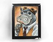 Hippopotamus Art Print Hippo Steampunk Goggles Animal Illustration 8x10