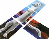 Clearance Sale: Longcat Meme, Set of 4 Prints, ACEO Art Card, White Cat Artwork, Long Cat Picture, Sunset Decor, Animal Illustration