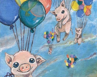 Flying Pig Print, Rainbow Balloon Decor, Cute Piglets, Nursery Room Art, Farm Animals Illustration, Bedroom Wall Print, Custom Size