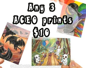 Sale: Set of 3 Prints, ACEO Art Cards, Your Choice of 3, Custom Prints, Any Image, Choose Your Own, Discount Art, Animal Illustration