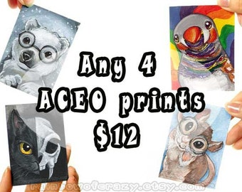 Sale: 4 ACEO Prints, Set of Four Art Cards, Your Choice Any Animal Illustration